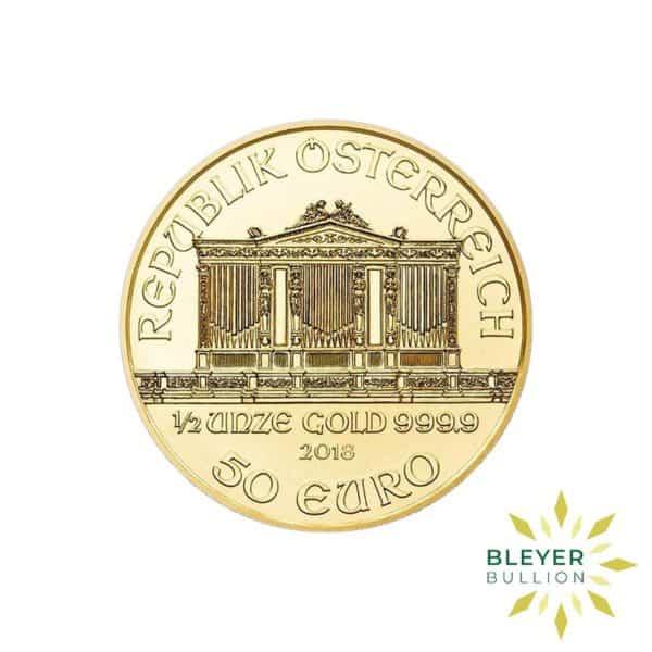 Bleyers Coins 1 2oz Gold Austrian Philharmoniker Coin 2018 2