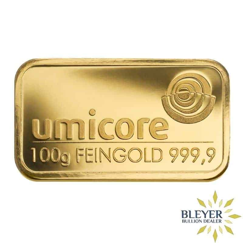 100 gram minted gold bar produced by LBMA