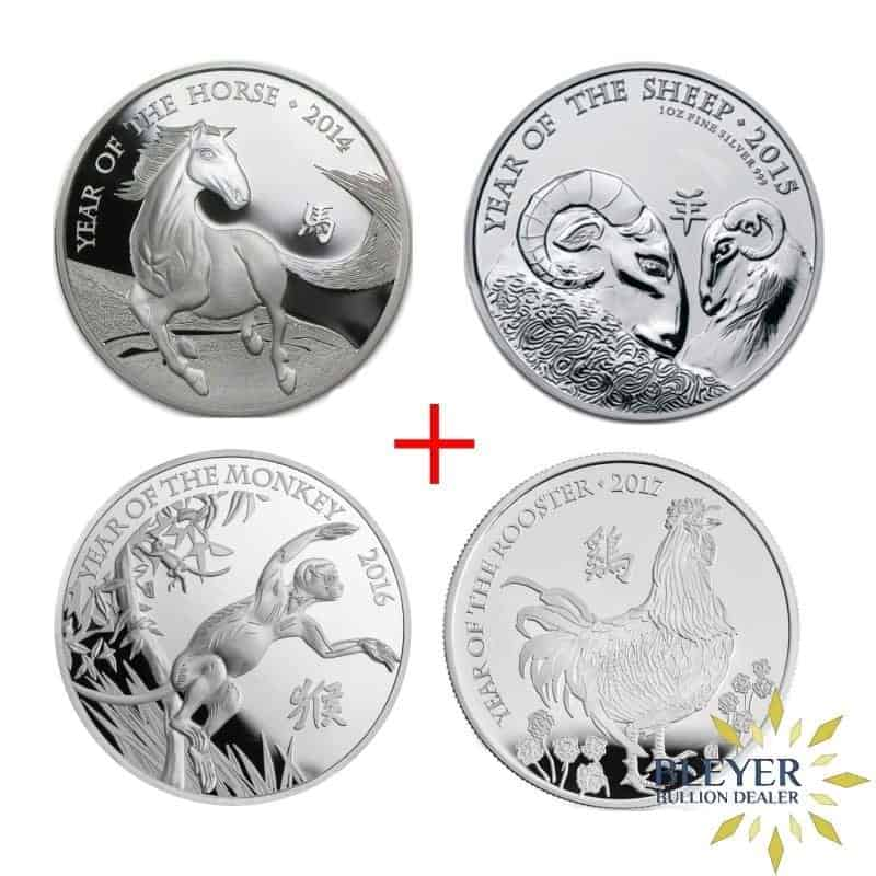 The Royal Mint's Lunar Collection containing 1oz monkey, horse, sheep, rooster silver coins