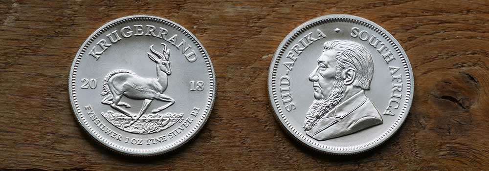Front and back design of 1oz Silver South African Krugerrand 2018 Bullion Investment Coin available at Bleyer