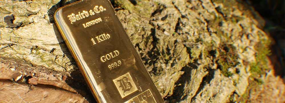 1KG Cast Baird Bullion Bar lying on a log
