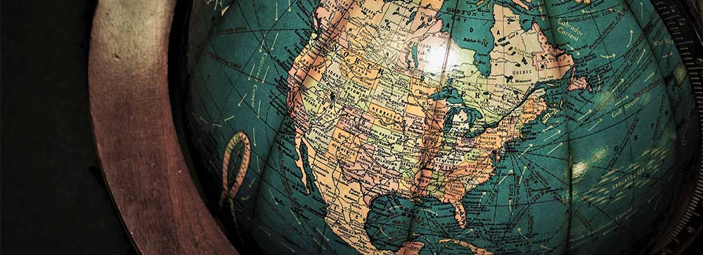 A Vintage Globe showing North America
