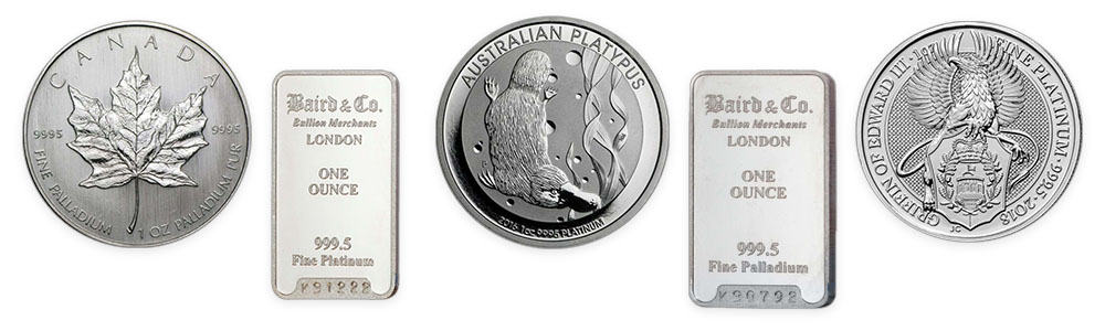 Assorted investment palladium and platinum bullion available from Bleyer