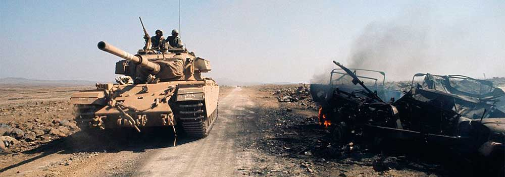 Israeli Tank driving through dessert in Middle Eastern Conflict