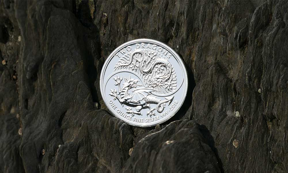 1oz Silver UK Two Dragons Coin, 2018