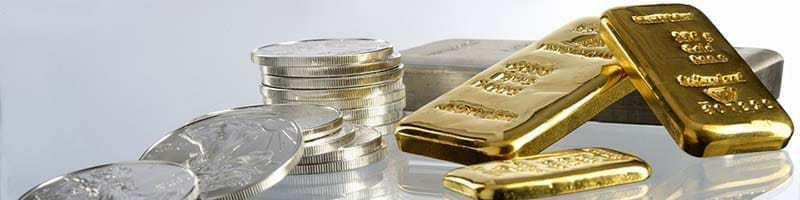 Assortment of Gold and Silver Bullion Bars and coins