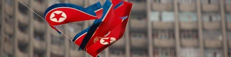 North Korean Flags blowing in the Wind