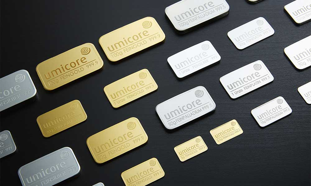 Assortment of Umicore bullion bars in various sizes