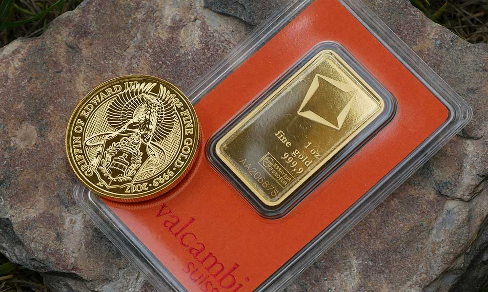 Valcombi Bar and 1oz Griffin Coin available from Bleyer