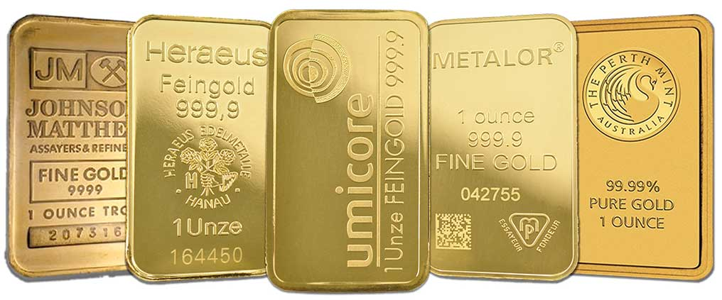 Assorted gold bullion bars available at Bleyer