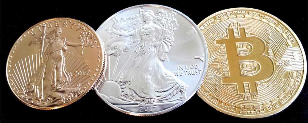 Silver Coin, Gold Coin and Bitcoin