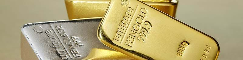 1KG Umicore Gold and Silver bullion bars lying down