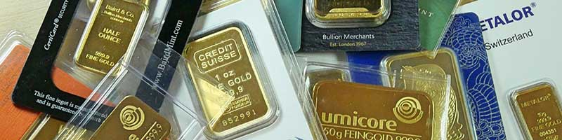 Assortment of Gold Bullion Bars from various refiners