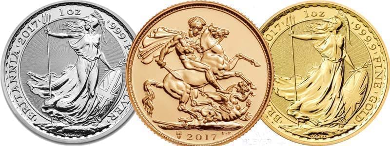 A row of bullion coins including a 2017 silver and gold Britannia and a 2017 Sovereign.