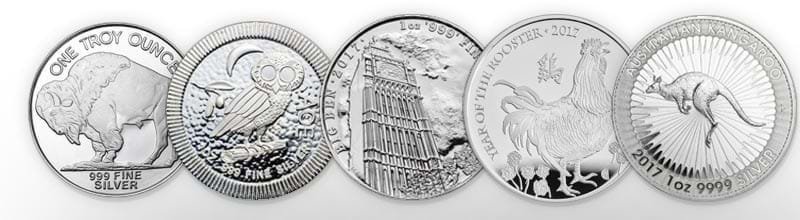 A selection of Bleyer's 1oz silver coins