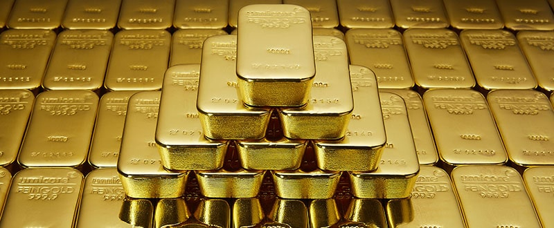 500g Gold Bullion Bars Stacked up on top of each other