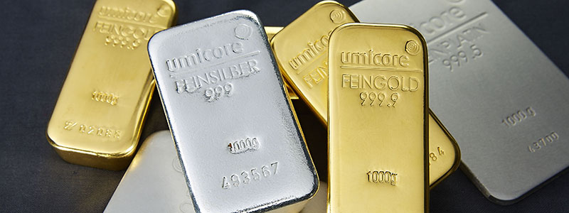 An assortment of precious metal bullion bars produced by Umicore