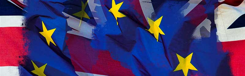 Both United Kingdom and European Union flags emerging from one another