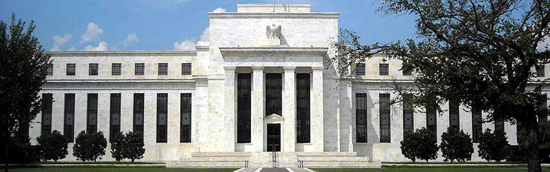 The external building of the Federal Reserve Bank in America