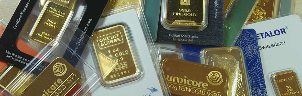 Various gold bars available at Bleyer