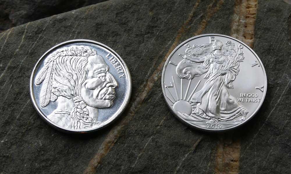 Photo of front of 1oz Silver American Buffalo Round vs 1oz American Eagle Coin