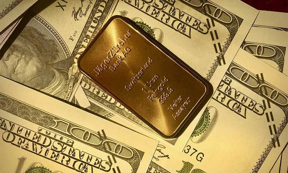 Gold Bar on Dollar Bills