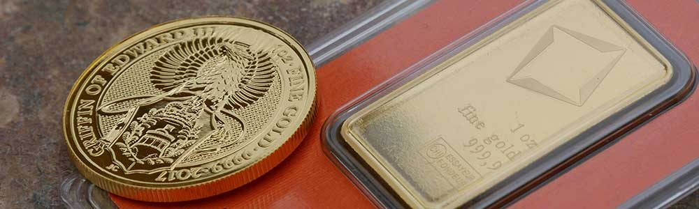 1oz Gold Valcombi Bar and 1oz Gold Griffin 2017 Coin