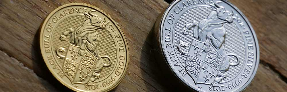 1oz Gold Queen's Beasts Black Bull, 2018 and 2oz Silver UK Queen's Beasts Black Bull, 2018