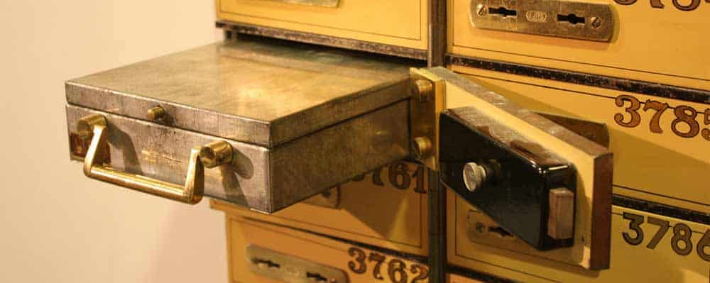 An older safety deposit box to store precious metals securely