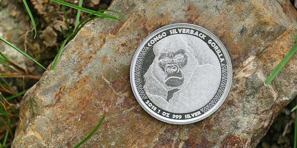 One ounce silver Gorilla coins produced by the Scottsdale Mint for the republic of Congo.