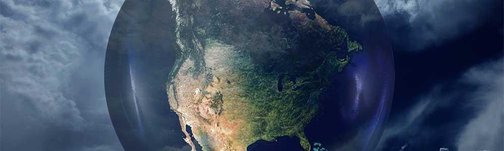 USA on a globe