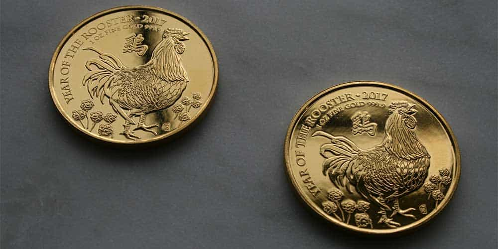 Two 1oz Gold Rooster Coins