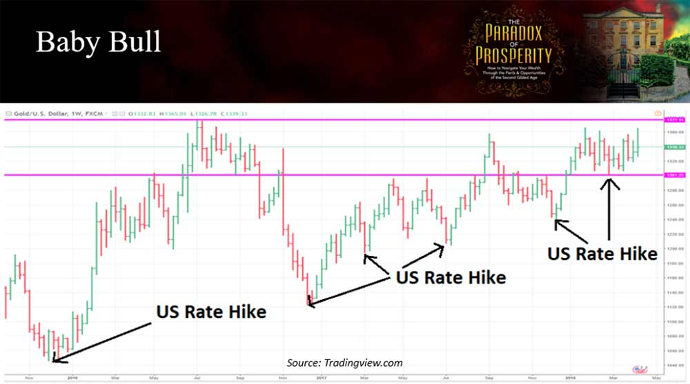 Graph showing US rate hike trends