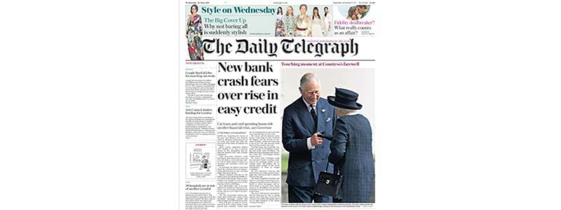 Front page headline: New bank crash fears over rise in easy credit