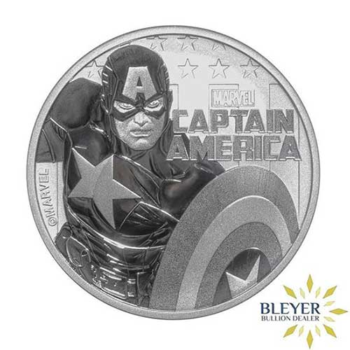1oz Silver Tuvalu Marvel Captain America Coin, 2019