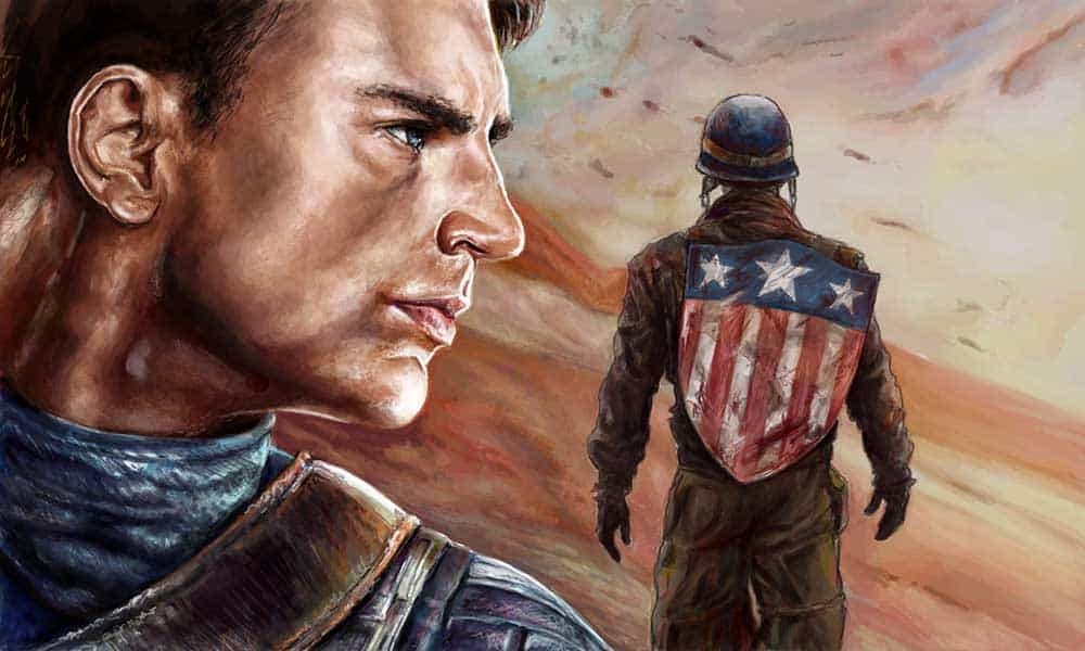 Painting of Captain America away at war