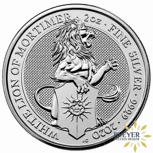 2oz Silver UK Queen's Beasts Yale Front Design