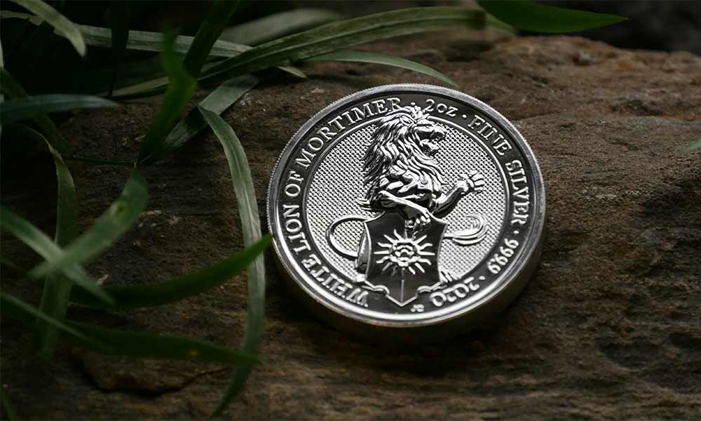 Front 2oz Silver Queen's Beasts The White Lion of Mortimer, 2020