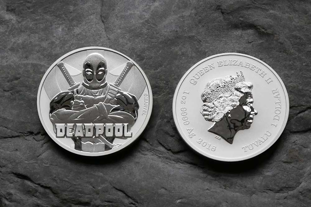 Photo of front and back designs of 1oz Silver Tuvalu Marvel Deadpool 2018 Coin