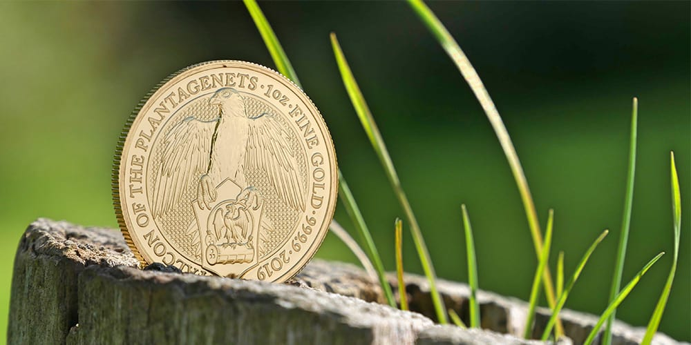 1oz Gold Falcon Coin sitting on a tree stump with front design showing