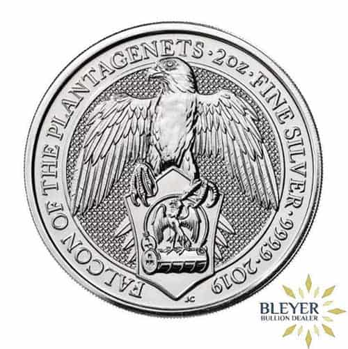 2oz Silver UK Queen's Beasts Falcon Front Design