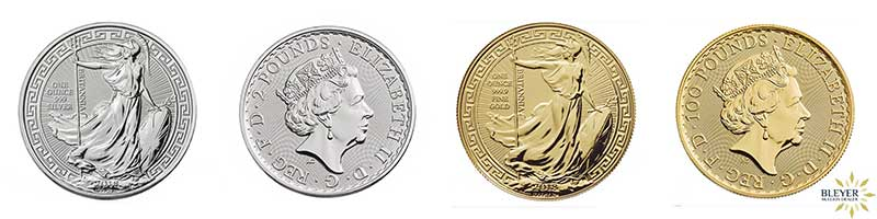2018 Oriental Border Britannia Coin is available in both1oz Gold and 1oz Silver - front and Back Designs