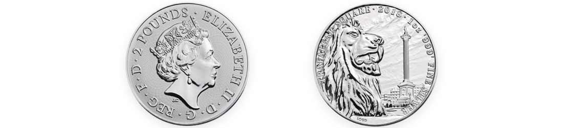 1oz Silver Landmarks of Britain, Trafalgar Square (front and back)