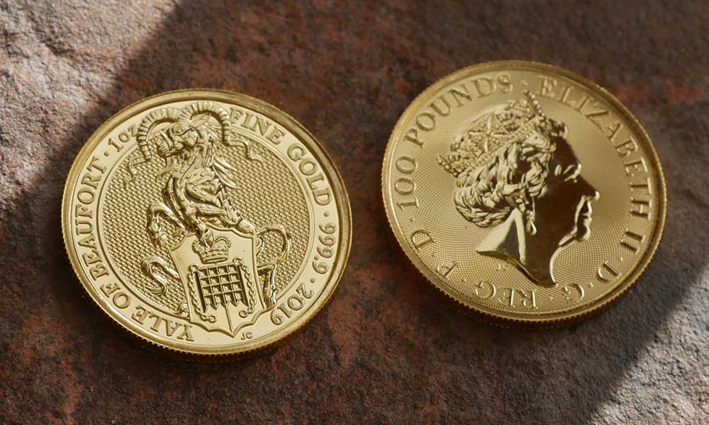 Front and back of 1oz Gold Queen's Beasts The Yale of Beaufort, 2019