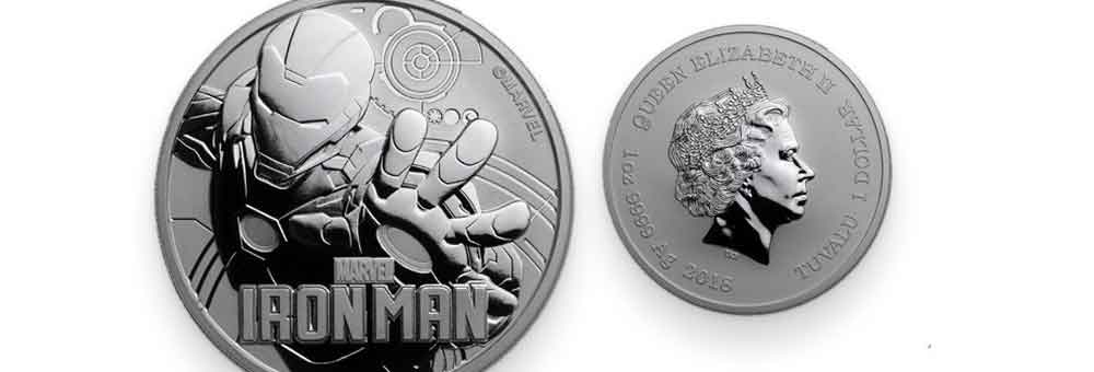 The front and back designs of 1oz Silver Tuvalu Marvel Iron Man Coin, 2018