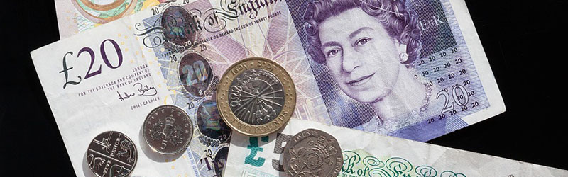 Coins and notes used for the Great British Pound