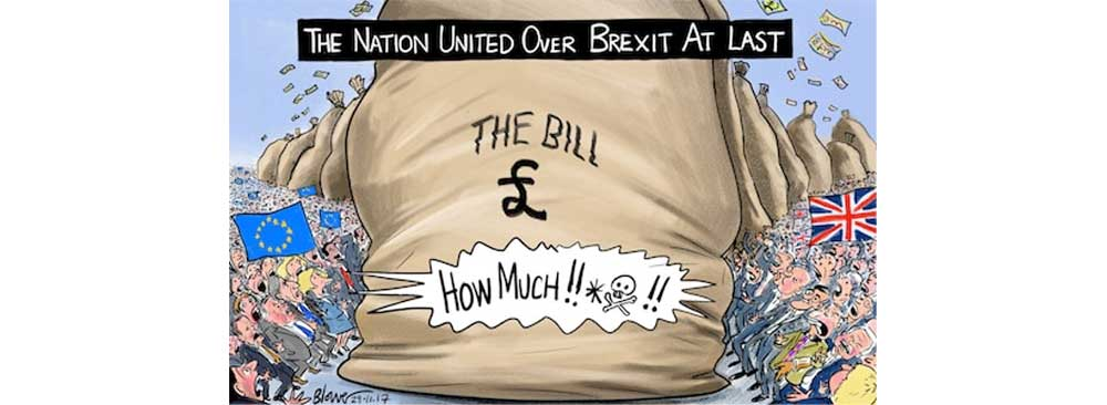 A cartoon showing a huge money bags with people from Europe and Britain shocked at its size