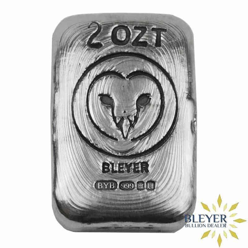 2oz Silver Bleyer Hand Poured Rectangle Owl Bar, 2019