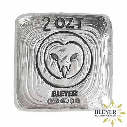 2oz Silver Bleyer Hand Poured Square Owl Bar, 2019