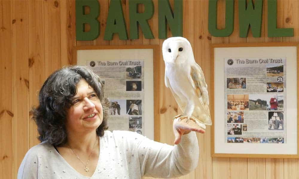 Managing Director Caroline holding Barn Owl Bailey